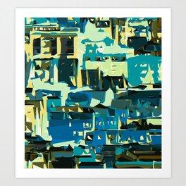 blue yellow green and dark blue geometric graffiti painting abstract background Art Print