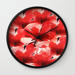 Red Poppies - Painterly Wall Clock