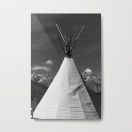 Tipi against snow capped Mountains Metal Print