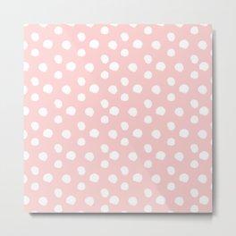 Brushy Dots Pattern - Pink Metal Print