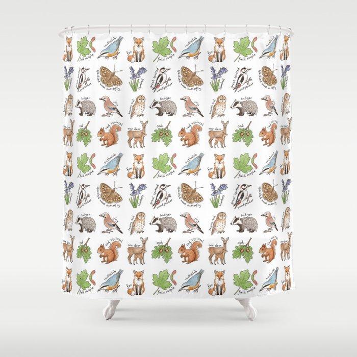 British Woodland Wildlife Shower Curtain
