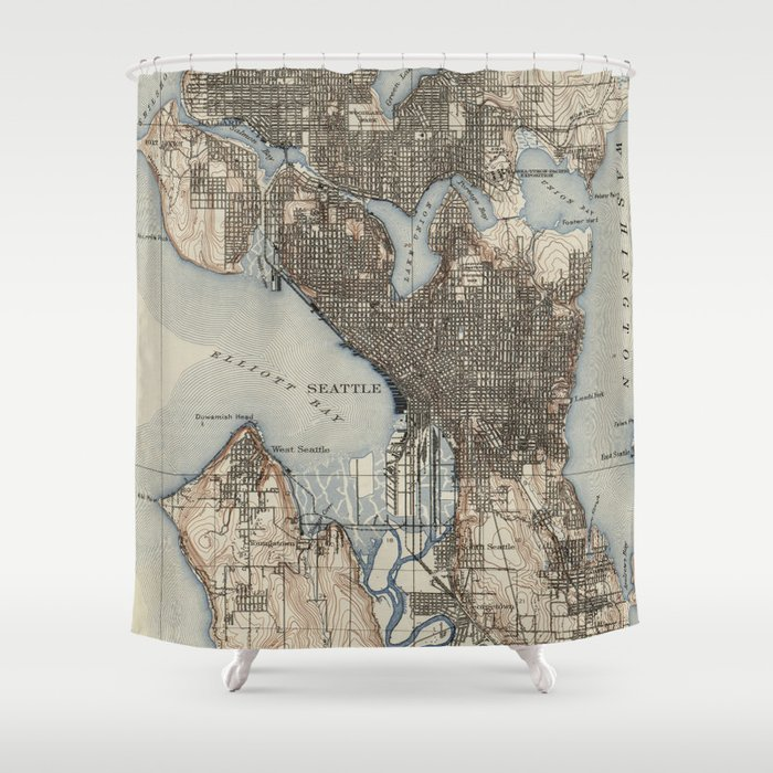 Vintage Map Of Seattle Washington 1908 Shower Curtain By