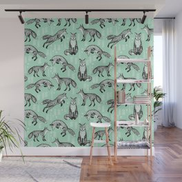 Fox pattern drawing foxes cute andrea lauren mint forest animals woodland nursery Wall Mural
