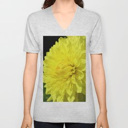 Glowing Yellow Dahlia Unisex V-Neck