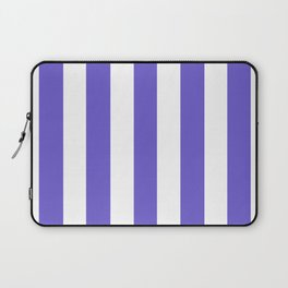 Slate blue - solid color - white vertical lines pattern Laptop Sleeve