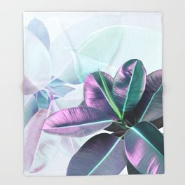 Violet Tropical Plant Throw Blanket