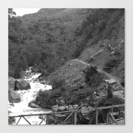 Alpine Bridge Adventure B&W Canvas Print