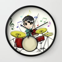 chibi Wall Clocks featuring Chibi Drummer by Jelo