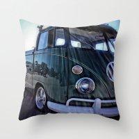 vw Throw Pillows featuring vintage vw by Joedunnz