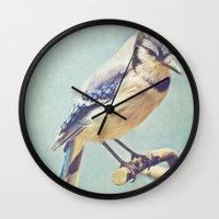 virginia Wall Clocks featuring Virginia Bluejay by Beth Thompson
