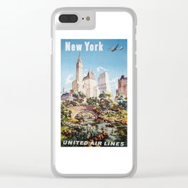 New York Vintage Poster Clear iPhone Case
