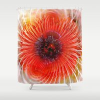 poppy Shower Curtains featuring Poppy by Klara Acel