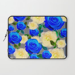 CHARCOAL GREY DECORATIVE WHITE & BLUE ROSE GARDEN Laptop Sleeve
