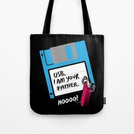USB, I am Your Father | Retro Floppy Disk Tote Bag
