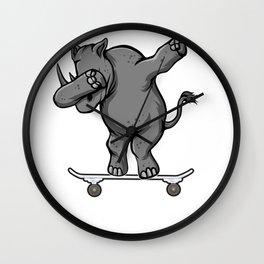 Skateboarding Rhino Rhinocerous on Skateboard Gift for Skater  Wall Clock