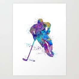 Boy Ice Hockey Colorful Sports Art Watercolor Gift Art Print