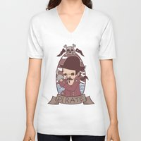 pirate V-neck T-shirts featuring Pirate by Jelot Wisang