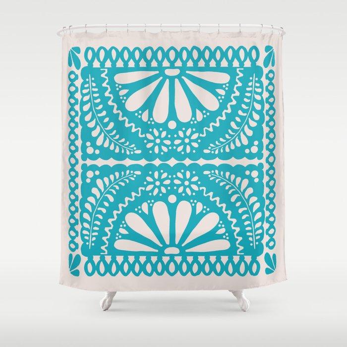 Fiesta De Flores Turquoise Shower Curtain