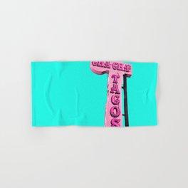 Cha-Cha's Tacos Retro Vintage Pink Sign Hand & Bath Towel