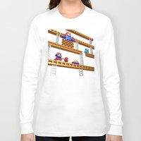 donkey kong Long Sleeve T-shirts featuring Inside Donkey Kong stage 2 by Metin Seven
