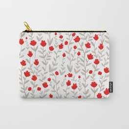 Grey and Red Floral Pattern Carry-All Pouch