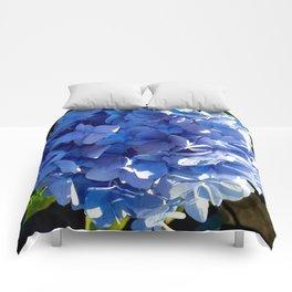 Blue Hydrangia Flower Blossom Comforters