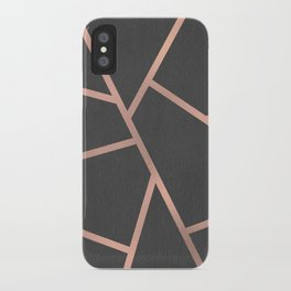 Dark Grey and Rose Gold Textured Fragments - Geometric Design iPhone Case