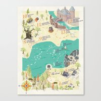 the princess bride Canvas Prints featuring Princess Bride Discovery Map by Wattle&Daub