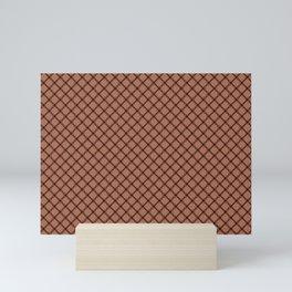 Black Scroll Grid Pattern on Sherwin Williams Cavern Clay SW7701 Mini Art Print