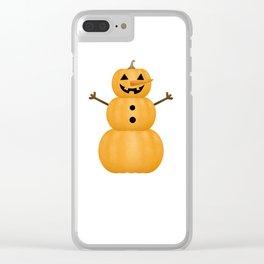Pumpkin Snowman Clear iPhone Case