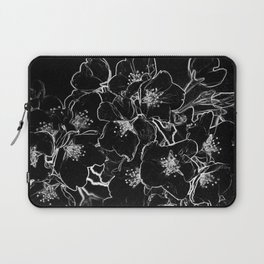 FLOWERS AT MIDNIGHT - IN BLACK & WHITE Laptop Sleeve
