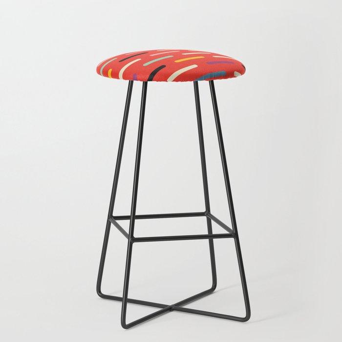 Modern Scandinavian Dash Red Bar Stool