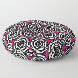 Black and White Rose Floor Pillow