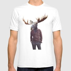 fashionable moose MEDIUM White Mens Fitted Tee