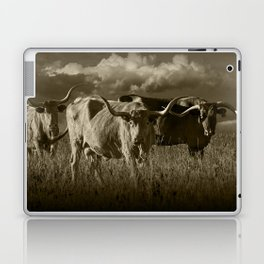 Sepia Tone of Texas Longhorn Steers under a Cloudy Sky Laptop & iPad Skin
