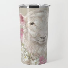 Sheep With Floral Wreath by Debi Coules Travel Mug
