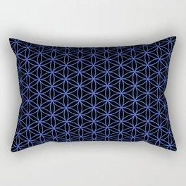 Flower of Life Pattern – Blue on Black Rectangular Pillow