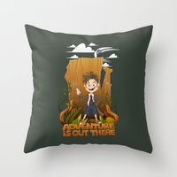 adventure is out there Throw Pillows featuring Adventure by BlancaJP