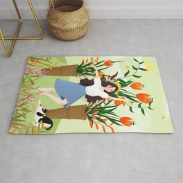 Beautiful Flower Lady Paint Rug