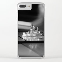 Monopoly Battleship Token in Black and White Clear iPhone Case