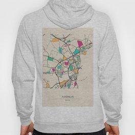 Colorful City Maps: Aarhus, Denmark Hoody