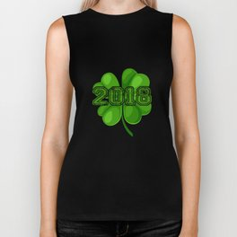 2018 Shamrocks Irish Clover St Patricks Biker Tank