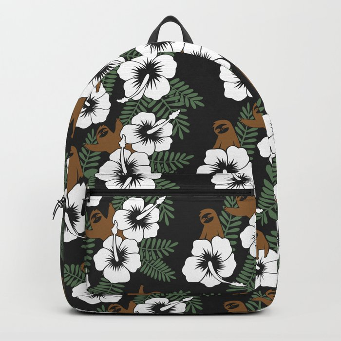 Sloth And Hibiscus Flowers Backpack By Slothgirlart Society6
