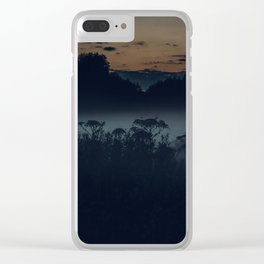 [34] Fog in the evening forest, nature, travel, night Clear iPhone Case