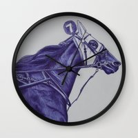 sport Wall Clocks featuring Sport Horses by Tosasmok