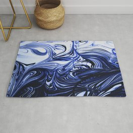 Oil Swirl Blue Droplets Abstract I Rug