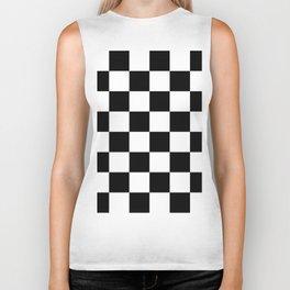Contemporary Black & White Gingham Pattern Biker Tank