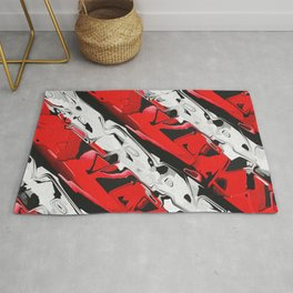 Abstract Red And White Stripes Rug