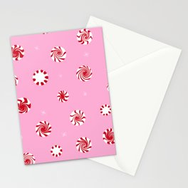 Peppermint Pattern - Pink Stationery Cards