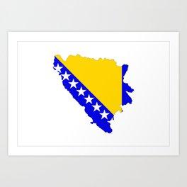 bosnia herzegovina flag map Art Print